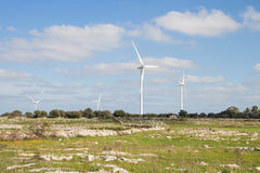 Wind generators in countryside. Of South Italy Royalty Free Stock Images