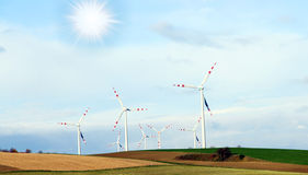 Wind Generators, Ecology. Wind mill Generators ecology friendly Royalty Free Stock Photography