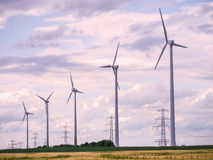 Wind generators and electrical towers Royalty Free Stock Photo