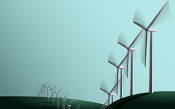 Wind generators on the fields Royalty Free Stock Photos