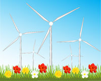 Wind generators on glade Royalty Free Stock Photography