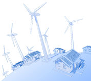 Wind generators & houses royalty free stock photography