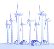 Wind generators & houses Royalty Free Stock Images