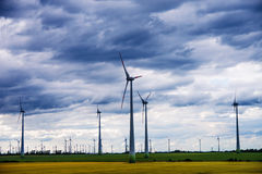 Wind generators in landscape Royalty Free Stock Photos