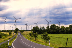 Wind generators in landscape Royalty Free Stock Images