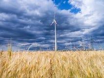 Wind generators in landscape Royalty Free Stock Image