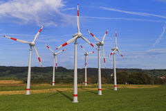 Wind generators. Large wind generators for generating energy Royalty Free Stock Photography