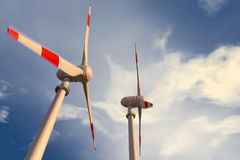 Wind generators. Large wind generators for generating energy Royalty Free Stock Image