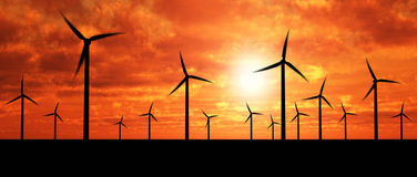 Wind generators over orange sky. Wind turbine farm over sunset Royalty Free Stock Photos