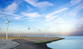 Wind generators on the sea coast Royalty Free Stock Image