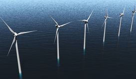 Wind generators on the sea Royalty Free Stock Image