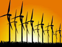 Wind generators silhouet Royalty Free Stock Photo