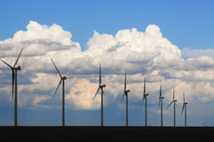 Wind Generators Silhouetted in the Evening Royalty Free Stock Images