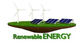 Wind Generators and solar panels - renewable Stock Images