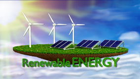 Wind Generators and solar panels - renewable Royalty Free Stock Photo