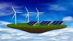 Wind Generators and solar panels - renewable. Energy concept Royalty Free Stock Photo