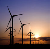 Wind generators at sunset Royalty Free Stock Image