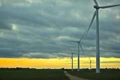 Wind Generators Sunset Stock Photos