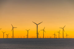 Wind generators in sunset Royalty Free Stock Photo