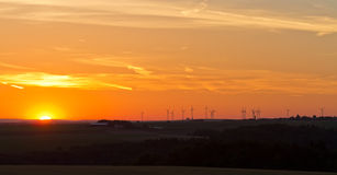 Wind generators at sunset, Pfalz Stock Photos