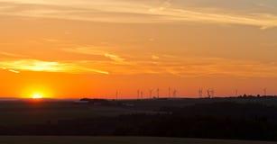 Wind generators at sunset, Pfalz. Germany Stock Photos