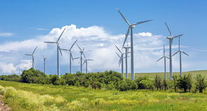 Wind generators. Wind generators are in the Tien Shan. Kazakhstan Royalty Free Stock Images