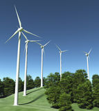 Wind generators on top of a hill Royalty Free Stock Images