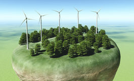 Wind generators on top of a terrain Stock Photography