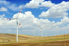 Wind generators turbine - energy saving ecology concept Stock Images