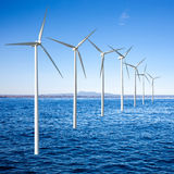 Wind generators turbines in  sea Royalty Free Stock Images