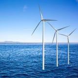 Wind generators turbines in the sea Stock Photos