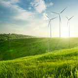 Wind generators turbines on sunset summer landscape Stock Images