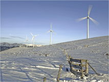 Wind generators in winter Stock Photography