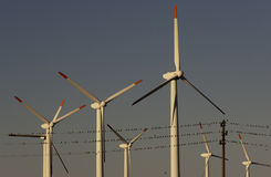 Wind generators wiring swallows. Wind generators in front of wiring with swallows Stock Photography