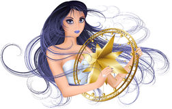Wind goddess. Vector illustration of beautiful girl with long hair and compass rose, she is a goddess of wind vector illustration