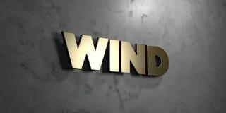 Wind - Goldzeichen angebracht an der glatten Marmorwand - 3D übertrug freie Illustration der Abgabe auf Lager Stockfoto