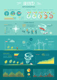 Wind Graphics. Tornado Hurricane. Renewable Energy. Wind infographic. Tornado and hurricane set with natural disaster symbols. Wind energy propellers. Power stock illustration