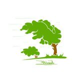 Wind. Green tree silhouette blowing in the wind, illustration stock illustration
