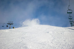 Wind gust stirs snow cover on ski slope. Wind gust suddenly appears to stir the snow cover on a ski run in Australia Stock Images