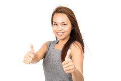 Wind Hair Blowing Two Thumbs Up Asian Girl Half Stock Photo
