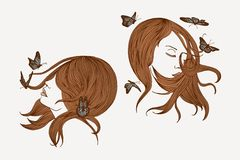 Wind, hair, butterflies Royalty Free Stock Photos