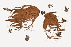 Wind, hair, butterflies Royalty Free Stock Image