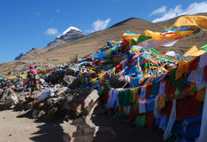 Wind-horse flag in Tibet. Wind-horse flags and Kailash Stock Photography