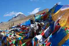 Wind-horse flag in Tibet. Pilgrims are  hanging Wind-horse flags for  Kailash Stock Images