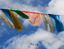 Wind-horse flag in Tibet. Wind-horse flags  under the blue sky  in Lhasa, Tibet Royalty Free Stock Photos