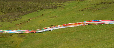 Wind-horse flag in Tibet Stock Photos
