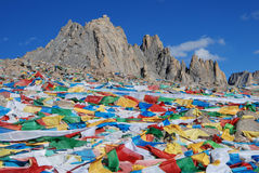 Wind-horse flag in Tibet Stock Photos