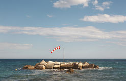 Wind indicator in mediterranean coastline. Alicante, Spain Stock Photos