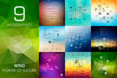 Wind infographic with unfocused background Royalty Free Stock Photo
