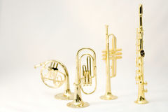 Wind instruments. Wind brass instruments isolated Stock Images